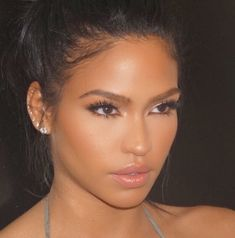 Cassie Ventura. This would be another great wedding look: luminous skin, big black lashes, and a gorgeous lip color