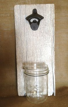 Bottle Opener on Whitewashed Barnwood with Mason Jar Cap Catcher by KatiesSpecialTouch on Etsy