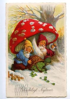 Elves Faeries Gnomes:  Gnomes under a Fly Agaric mushroom.