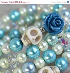 SALE Sugar Skull Wrap Around Bracelet Day of the Dead by Exgalabur, $12.80