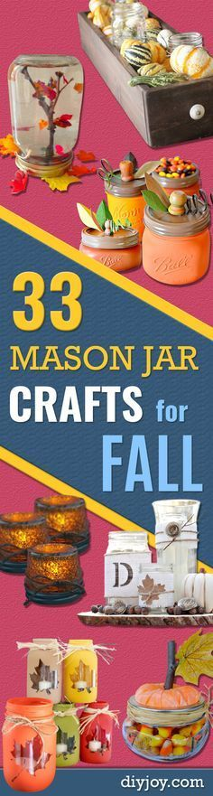 Best Mason Jar Crafts for Fall - DIY Mason Jar Ideas for Centerpieces, Wedding Decorations, Homemade Gifts, Craft Projects with Leaves, Flowers and Burlap, Painted Art, Candles and Luminaries for Cool Home Decor http://diyjoy.com/mason-jar-crafts-fall