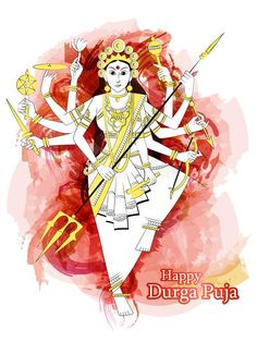 Indian Goddess Durga sculpture for Durga Puja holiday festival of India in Dussehra Vijayadashami Navratri. Vector design of Indian Goddess Durga sculpture for vector illustration Navratri Wishes, Happy Navratri, Durga Ji, Durga Goddess, Happy Durga Puja, Maa Durga Image, Durga Painting, Sharpie Drawings, Durga Images