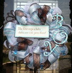 deco mesh baby wreaths for hospital doors - would like a sigh that says I Samuel 1:27 the verse
