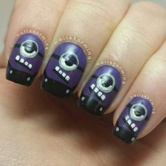 Have a look at the collection of purple evil minion nail art designs, ideas, trends & stickers of I am sure you will find these nail art interesting. Beautiful Nail Designs, Cool Nail Designs, Hot Nails, Hair And Nails, Minion Nail Art, Birthday Nail Art, Nail Art Wheel, Evil Minions, Vacation Nails
