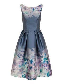 *Chi Chi London Multi Coloured Floral Print Midi Skater Dress