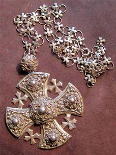Estate Find...Old 950 Silver Jerusalem Maltese Cross Pendant original chain