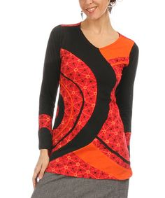 Another great find on #zulily! Red & Black Swirl Top by Couleurs du Monde #zulilyfinds