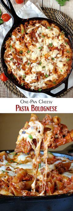 One-Pan Cheesy Pasta Bolognese | yummyaddiction.com | #pasta #cheesy #comfortfood