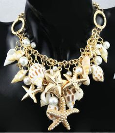 Fashion Gold Tone Pendant Sea Bib Shell Starfish Faux Pearl Statement Necklace for sale online Seashell Jewelry, Seashell Necklace, Shell Necklaces, Bohemian Jewelry, Diamond Initial Necklace, Pearl Statement Necklace, Statement Jewelry, Shell Schmuck, Bridesmaid Jewelry Sets