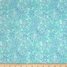 Something Blue Linear Paisley Aqua from @fabricdotcom  Designed by Color Principle for Henry Glass & Co., this cotton print fabric is perfect for quilting, apparel and home decor accents. Colors include shades of blue.