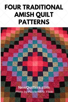Amish Quilt Patterns — Four Traditional Favorites Sampler Quilts, Amish Quilts, Barn Quilts, Patchwork Quilt Patterns, Quilt Block Patterns, Pattern Blocks, Barn Quilt Designs, Quilting Designs, Nine Patch