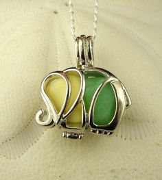 GENUINE Sea Glass Necklace Elephant Locket