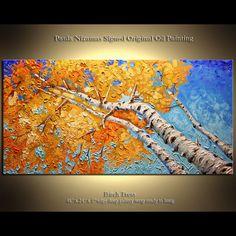 Modern Palette Knife Impasto Silver Birch Tree Painting Modern Fine Art from Paula Nizamas on Etsy