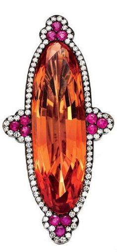 JAR: Imperial topaz earrings within a diamond-and-ruby surround (set in blackened silver and yellow gold). Formerly the property of Ellen Barkin. Sold at auction through Christie's, Jar Jewelry, High Jewelry, Jewellery, Jewelry Ideas, Jewelry Rings, Imperial Topaz, Topas, Diamond Earing, Topaz Earrings