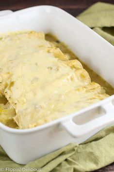 Classic Green Chile Enchiladas, made gluten-free with a quick and easy homemade gluten-free green chile enchilada sauce.