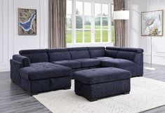"""Acme 55520 4 pc Waldorf park nekoda navy blue fabric sectional sofa with chaise and ottoman. This set features adjustable headrests and chaise and ottoman with storage. This set includes the Left facing chaise, armless loveseat, right wedge loveseat and ottoman. Sectional as shown measures 129"""" x 64 L chaise x 38"""" D x 32"""" H. Additional pieces also available separately at additional cost. Some assembly required."""