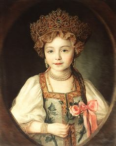 1790. A little Grand Duchess Alexandra Pavlovna dressed in kokoshnik and sarafan