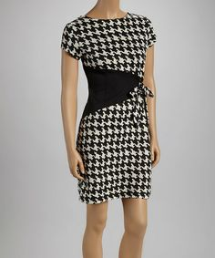 Loving this Black & Cream Houndstooth Triangle Short-Sleeve Dress on #zulily! #zulilyfinds