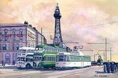 Blackpool Trams in the Cantilever Bridge, Blackpool England, Uk Rail, Bus Art, S Bahn, Abandoned Amusement Parks, Double Decker Bus, Bus Coach, Light Rail