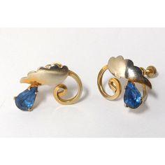Blue Teardrop Rhinestone Earrings Vintage Gold Silver Art Nouveau ($17) ❤ liked on Polyvore featuring jewelry, earrings, tear drop earrings, gold earrings, blue rhinestone earrings, vintage rhinestone earrings and vintage gold earrings