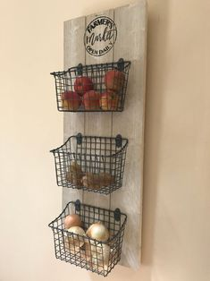 Kitchen Organizer / Fruit and Veggie Organizer / Kitchen Baskets / Farmer's Market Sign / Fruit and Vegetable Baskets / Farmhouse Decor Kitchen Baskets, Wire Baskets, Diy Kitchen, Kitchen Decor, Kitchen Ideas, Awesome Kitchen, Kitchen Inspiration, Kitchen Counters, Kitchen Islands