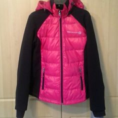Pink down jacket Color: Wild rose/black. Soft shell jacket with duck down. Has detachable hood. Water and wind resistant. 100% polyester. 50% duck feathers (in middle, back, and hood of jacket).  Machine washable.  Lightweight. Free Country Jackets & Coats