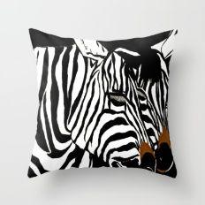 Zebra Black and White Pair Throw Pillow