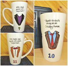 Ninth Doctor, Tenth Doctor, Eleventh Doctor ~ We're All Important ~ Doctor Who Hand Painted Mug