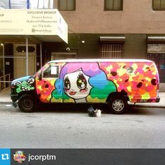 @jcorptm ・・・Painted this van with the club today ✨ our clubhouse is out on the streets!thanks again to @cosbe1 and @rickys_nyc for making this happen & dope artists @abelincolnjr & @hissxx for killin it today! ❄️⭐️ #jcorp #jcorptm #stickersocialclub #streetart #rickysnyc #vanart #spraypaint #montana