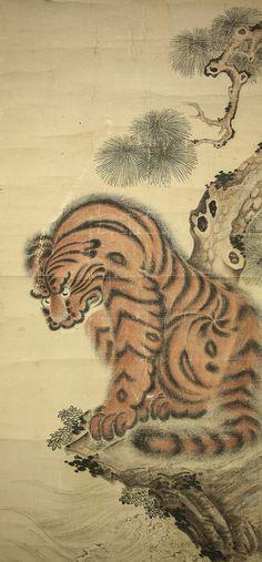 """KANO NAONOBU """"Tiger and Pine Tree on Seaside"""""""