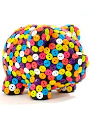 Alcancía Botones Oing Oing Pig Bank, Money Box, Button Art, Little Man, Sprinkles, Arts And Crafts, Candy, Toys, Pink