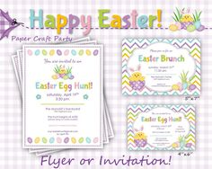 Easter Egg Hunt/Brunch DIY Printable Invitations or Flyer by Paper Craft Party