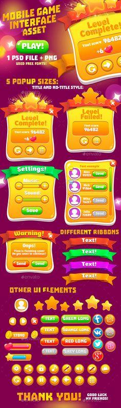 Casual Orange Game Interface Asset - User Interfaces Game Assets