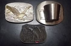 Lot of 3 Belt Buckles - 2 Eagles & 1 Shot Glass FAST SHIPPING #fashion #clothing #shoes #accessories #mensaccessories #beltbuckles (ebay link) Belt Buckles, Eagles, Shot Glass, Personalized Items, My Style, Link, Street Styles, Clothing, Coupon