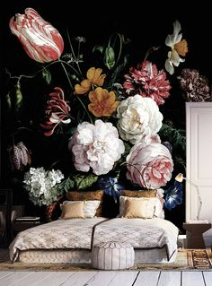 Dark floral peel and stick wallpaper Dutch flowers oil painting Wall mural Still life flowers wall art Dark flowers Dark wall mural For the Home Bedroom Decor, Wall Decor, Bedroom Ideas, Bedroom Murals, Cozy Bedroom, Bedroom Inspiration, Bedroom Interiors, Dark Interiors, Dark Flowers