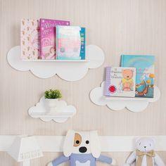 Prateleira nuvem deixa o quarto de bebê mais divertido e organizado