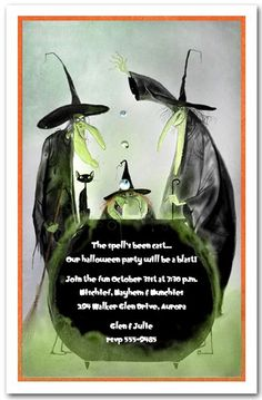 Witchy Trio Halloween Party Invitations, Halloween Birthday Invitations You are in the right place a Halloween Spells, Fairy Halloween Costumes, Adult Halloween Party, Halloween Decorations, Halloween Games, Halloween Bottles, Halloween Goodies, Halloween Celebration, Halloween 2018