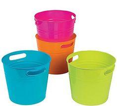 4 Plastic Bright Colorful Buckets #3/1908
