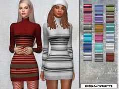Roll Neck Dress With stripes Found in TSR Category 'Sims 4 Female Everyday'