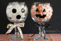 DIY Halloween Candy Jars made from glass candlesticks and bowls.