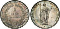 NumisBids: Numismatica Varesi s.a.s. Auction 65, Lot 443 : MILANO - GOVERNO PROVVISORIO DI LOMBARDIA (1848) 5 Lire 1848. ...