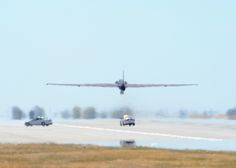 A U-2 Dragon Lady piloted by Maj. J.J., 1st Reconnaissance Squadron U-2 student pilot, takes off Aug. 31, 2016, at Beale Air Force Base, California. J.J.'s flight qualified him as the 1,000 pilot to operate the U-2 in the aircrafts 61 years of service. (U.S. Air Force photo by Senior Airman Ramon A. Adelan)