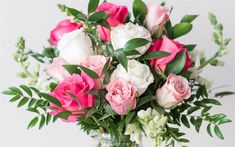 Download wallpapers beautiful pink bouquet, wedding bouquet, pink roses, white roses
