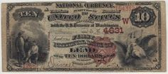 The top center fold of this note has a quarter inch split. Don't let that deter you from adding a quality South Dakota brown back to your collection.