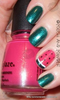 Polish and Powder: Watermelon Nail Art - ChG Watermelon Rind/Strawberry Fields Cute Nail Polish, Green Nail Polish, Cute Nail Art, Beautiful Nail Art, Super Cute Nails, Great Nails, Love Nails, Fingernail Designs, Nail Polish Designs