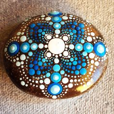 #blue #dotart #dotilism #mandalas #dots #etsy #paintedrock #paintedstone #createandcherish #stoneart #stone