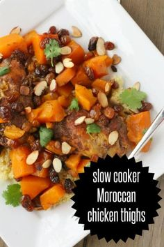Being busy doesn't mean you have to sacrifice great food. Try these Slow Cooker Moroccan Chicken Thighs that will cook all day while you're busy doing other things. Best part is, it will probably be enough for two meals! Healthy Slow Cooker, Crock Pot Slow Cooker, Crock Pot Cooking, Slow Cooker Recipes, Crockpot Recipes, Chicken Recipes, Cooking Recipes, Healthy Recipes, Crockpot Dishes