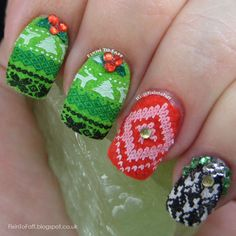 ugly sweater nail art created with flocking powder stamping rhinestones and glitter