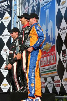 IndyCar Series Photo Gallery - Chevy Indy Dual in Detroit, Sunday June 1st, 2014 Race 2 - Helio Castroneves, Charlie Kimball, Will Power