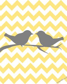 Two love birds on chevron  - yellow and gray - Need this print to frame and put up in the master